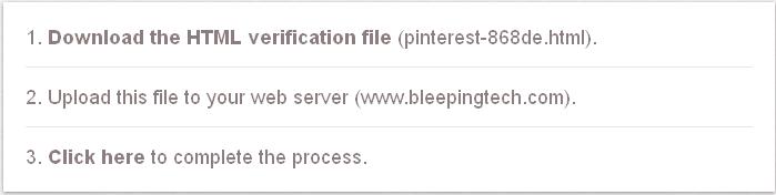 pinterest verification