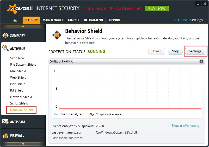 avast behaviour shield