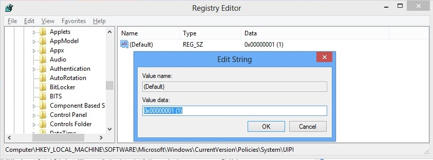 HKEY_LOCAL_MACHINE\SOFTWARE\Microsoft\Windows\CurrentVersion\Policies\System\UIPO