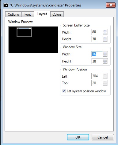 window size properties