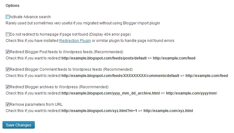blogger 301 redirect options