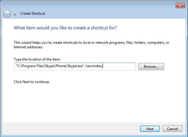 skype shortcut. path