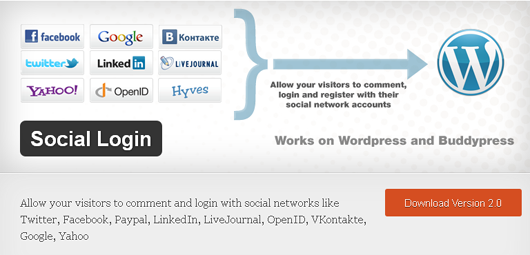 social login for wordpress1 How To Log In To WordPress Using Facebook   Registration Plugin