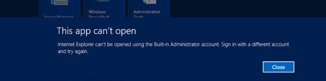 This app can't open for Built-in Administrator account -