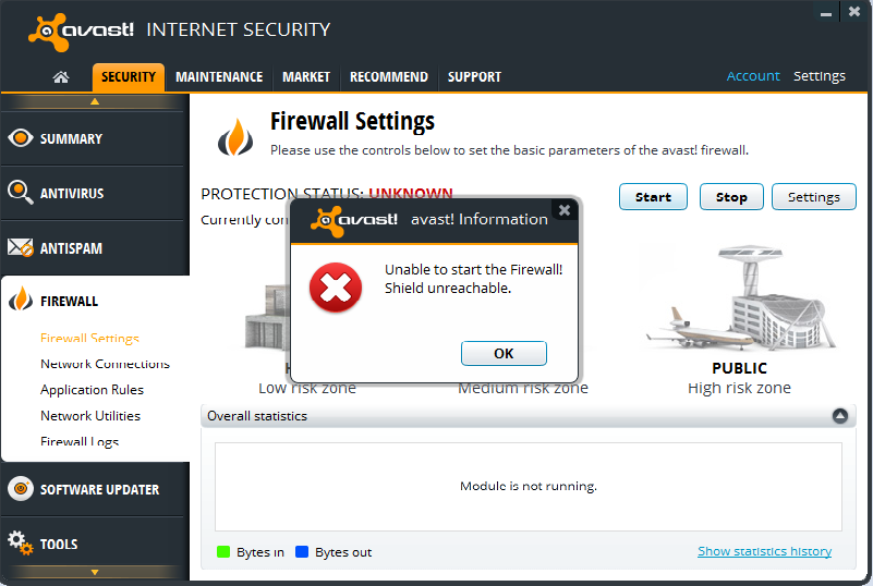 avast firewall service not available