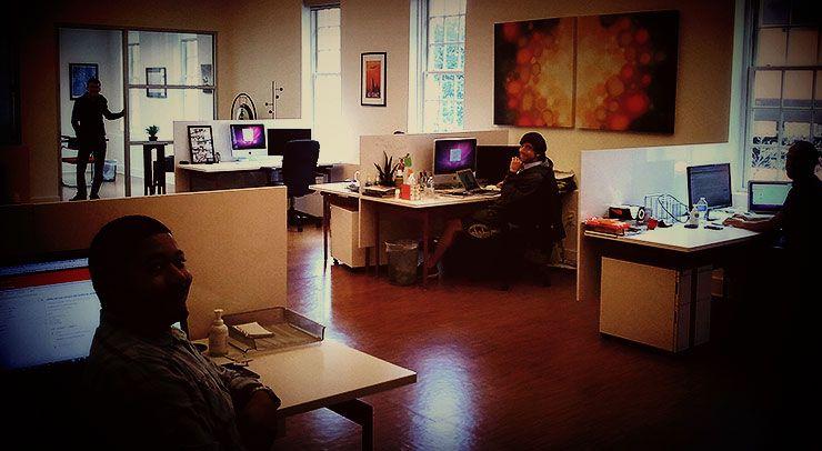 A small orange office